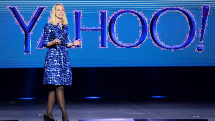 Yahoo! President and CEO Marissa Mayer delivers a keynote