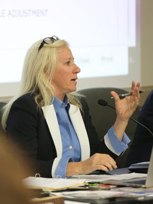 Ramapo Central school board President Theresa DiFalcoopens the floor for people to speak during Ramapo Central school board public hearing regarding whether or not the district should change its name during a school board meeting in Hillburn Nov. 1, 2016.