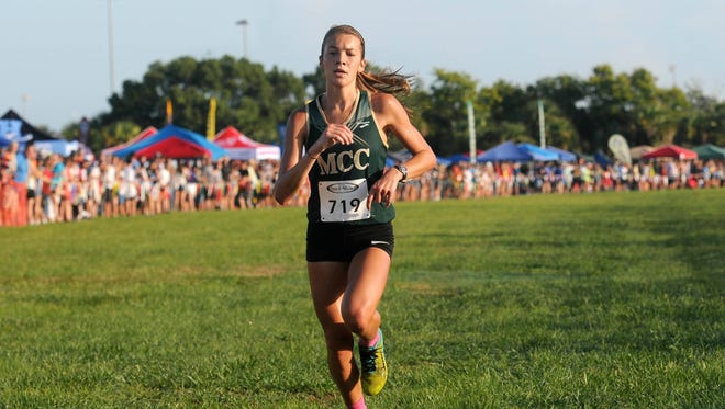 Amanda Beach of Melbourne Central Catholic is pictured winning the Astronaut Invitational earlier this season.