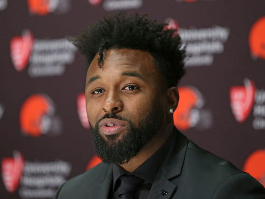 Cleveland Browns' Jarvis Landry speaks at an NFL football press conference Thursday, March 15, 2018 in Berea, Ohio. (Joshua Gunter/The Plain Dealer via AP)