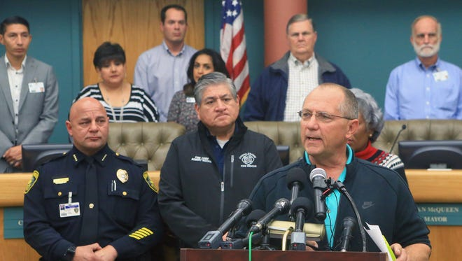 Mayor Dan McQueen informs the media with the latest updates Friday, Dec. 16, 2016, at City Hall in Corpus Christi. City officials confirmed Thursday morning that one chemical contaminated the city's water supply.