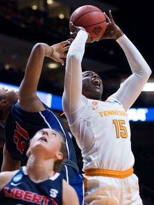 Tennessee center Cheridene Green, shown taking a shot against Liberty on Friday, and the Lady Vols face a tall order Sunday in taking on Oregon State in an NCAA women's basketball tournament second-round game at Thompson-Boling Arena.