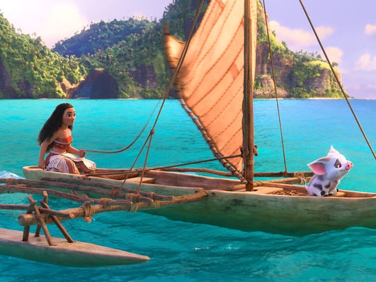 Moana (voiced by Auli'i Cravalho) sets sail with her