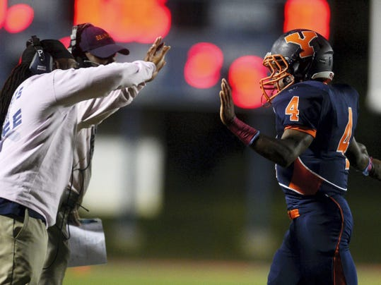 William Penn's Zack Ingram receives congratulations from the sidelines after running in a touchdown last October against New Oxford during the football game at Small Field. If the PIAA passes at least one of a few proposals for classifications and how enrollments are counted, it could have a significant impact on football programs such as William Penn. Just by adding the 10-percent rule, which has passed two of three required readings and would count only 10 percent of non-traditional students, the Bearcats could drop at least one classification smaller.