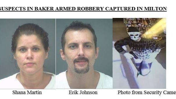 Milton residents Shana Martin and Erik Johnson will face charges in the attempted armed robbery of an Okaloosa County pharmacy.