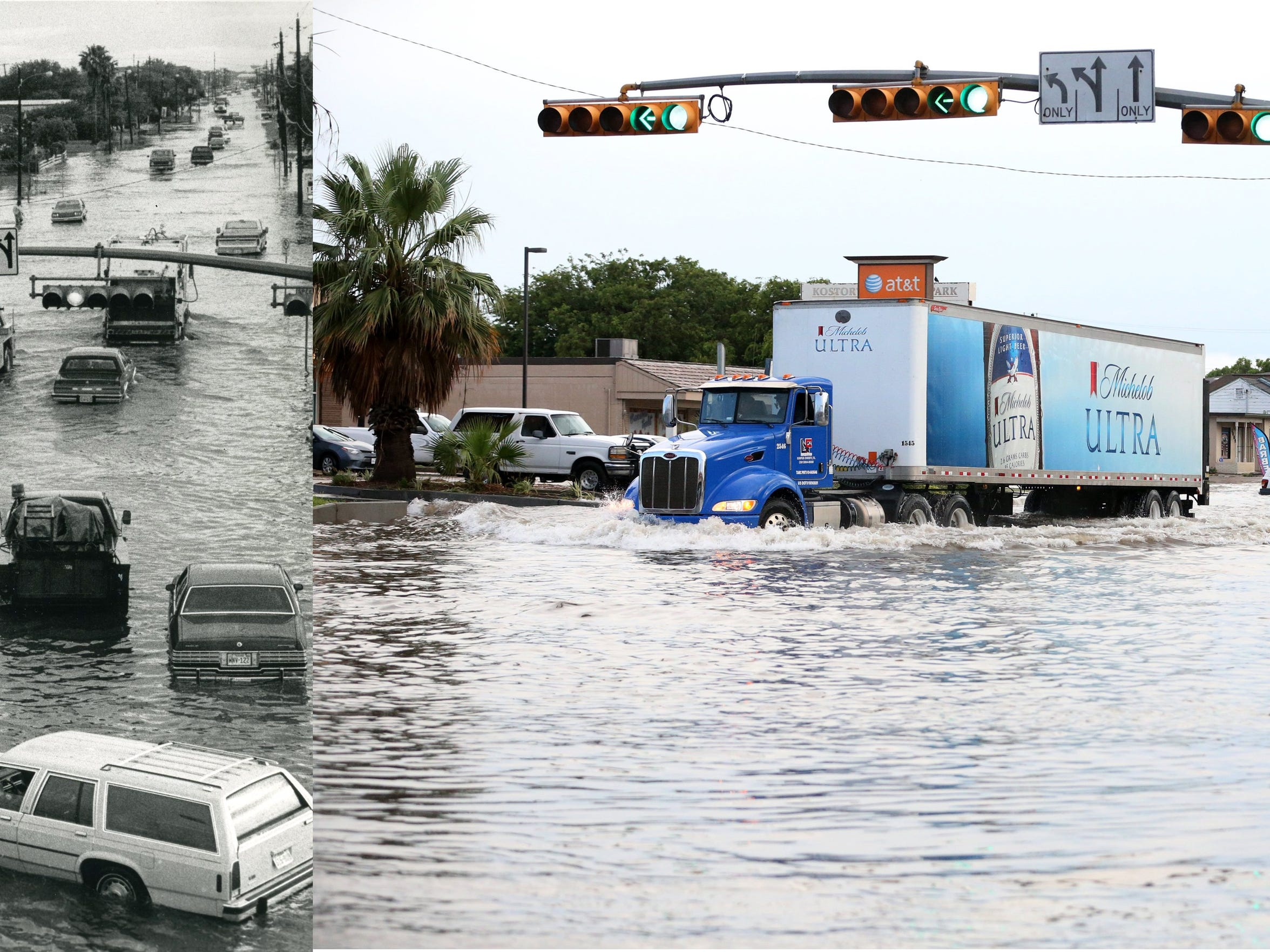 The intersection of Kostoryz Road and South Padre Island Drive has seen flooding for a number of years. The photo on the left was taken by Caller-Times photographer George Gongora on April 10, 1985. The photo on the right was taken by Caller-Times photographer Rachel Denny Clow on May 16, 2016.