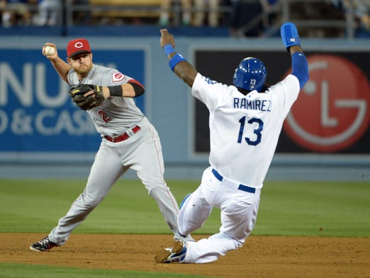Cincinnati Reds shortstop Zack Cozart (2) forces out Los Angeles Dodgers shortstop Hanley Ramirez (13) at second base in the seventh inning at Dodger Stadium. The Dodgers defeated the Reds 6-3.
