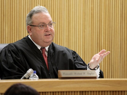 State Superior Court Judge Richard English presides over a hearing for Liam McAtasney Thursday morning, February 22, 2018.  McAtasney is charged in the murder of Sarah Stern.