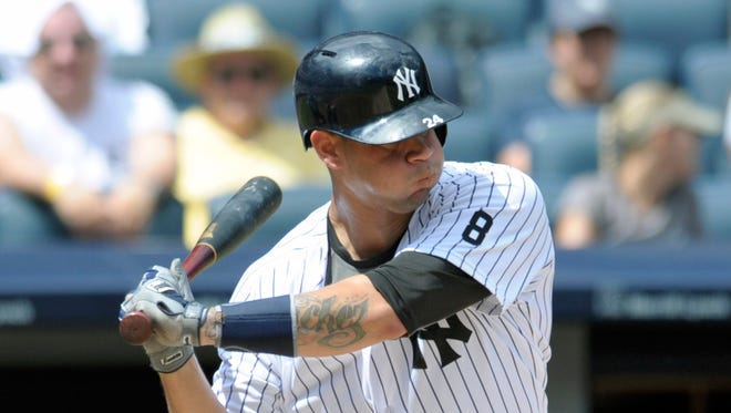 New York Yankees' Gary Sanchez bats in a baseball game against the Tampa Bay Rays Sunday, Aug.14, 2016, at Yankee Stadium in New York.