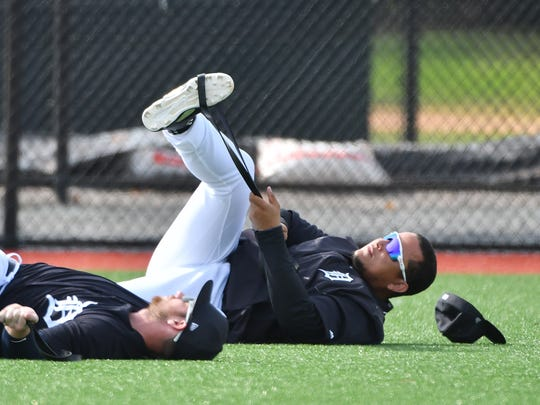 Miguel Cabrera stretches during spring training.