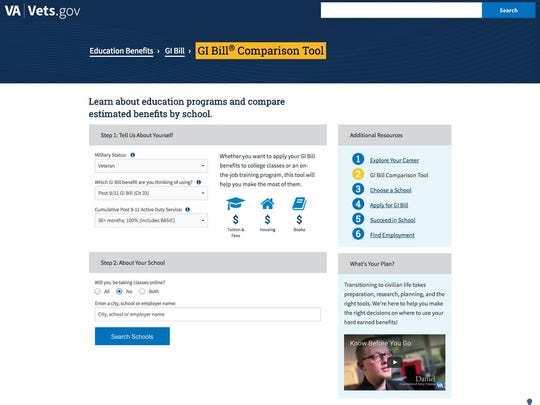 The Veterans Affairs Department's GI Bill Comparison Tool is comparatively packed with veteran-specific information, including estimates of how far GI Bill coverage will go to cover costs.