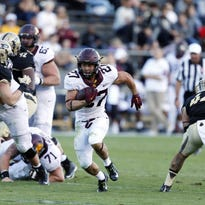 Oct 10, 2015; West Lafayette, IN, USA; Minnesota Golden Gophers running back Shannon Brooks (27) runs with the ball against the Purdue Boilermakers at Ross Ade Stadium. Minnesota defeats Purdue 41-13. Mandatory Credit: Brian Spurlock-USA TODAY Sports