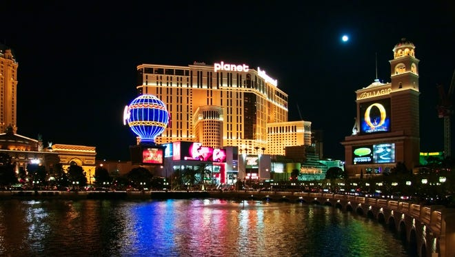 The Bellagio and Planet Hollywood hotels are shown in this image taken at night on May 3, 2007 in Las Vegas, Nevada.
