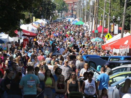 Thousands gather for Cider Days on Walnut Street.