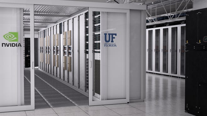 An artist's rendering of the artificial intelligence supercomputer soon to be housed at the University of Florida.