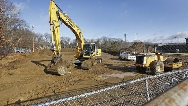 Construction of the Petersen Pool and Rink complex began in January, but came to a halt in March after the conronavirus pandemic shut down construction around the state and the proposed drainage system for the project was found to be inadequate.