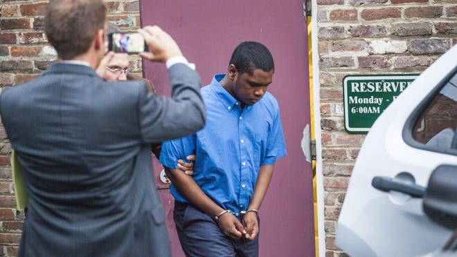Isaiah Stuart was photographed leaving the Cochran Judicial Center in August of 2015 after being found guilty of second-degree murder in the slaying of Julian Parrott.