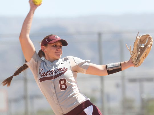 Rancho Mirage High School's Liz Rosin pitches against