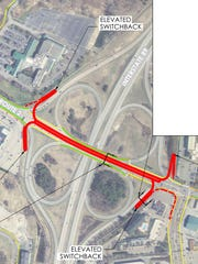 "A proposed location for a ""cannoli"" bridge for pedestrians and cyclists (in red) is shown above Williston Road at the I-89 intersection in South Burlington. Created for the city by Stantec."