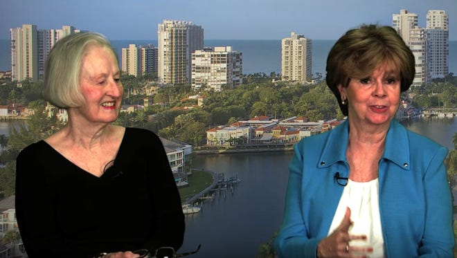 Jean Harrington, left, and Diane Ketcham discuss the pros of Naples as a mystery novel setting. See the video online at naplesnews.com