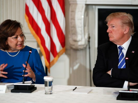 President Donald Trump, right, spoke with New Mexico's then-governor, Susana Martinez, at the White House on Monday, Feb. 12, 2018.
