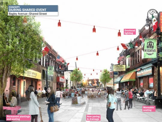 This is a concept rendering of Bagley Avenue during a shared event from the West Vernor Corridor Neighborhood Framework.