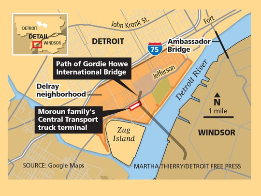 The path of the Gordie Howe International Bridge in