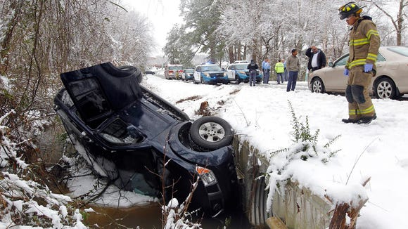 Raleigh emergency personnel respond to an accident involving a vehicle that slid on an icy road and overturned in a ditch Thursday.