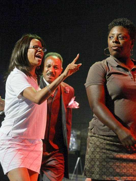 """From left, Theresa Martin and Thaddeus Godwin perform as the characters Mrs. and Mr. Carrington alongside Bert Palmer, performing as the character Annebelle, during a dress rehearsal of """"Don't Judge A Soul By Its Suit"""" at Logos Academy in York. The play, written and produced by Destined 2 Be's Cindy and Jonathan Strawbridge, is a combination of skits illustrating the old adage """"don't judge a book by its cover"""" and will run July 24-25."""