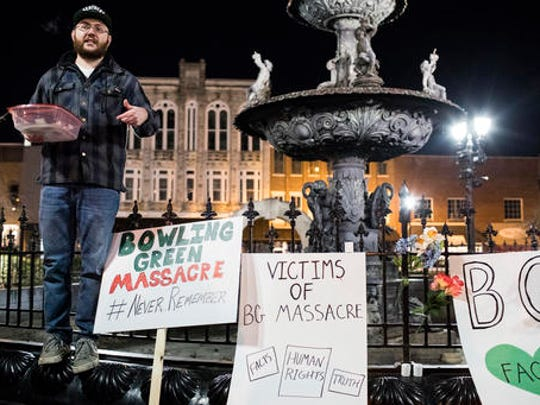 "Justin Swindle speaks during the Bowling Green ""massacre"" remembrance gathering that he organized on Friday, Feb. 3, 2017, at Fountain Square Park in Bowling Green, Ky. The ""massacre"" that never happened has Bowling Green in the national news again — something that has not happened since a sinkhole swallowed several prized Corvettes at a museum."