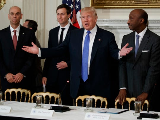 President Donald Trump welcomes manufacturing executives to a meeting at the White House in Washington, Thursday, Feb. 23, 2017. From left are, Archer Daniels Midland CEO Juan Luciano, White House Senior Adviser Jared Kushner, Trump, and Merck CEO Kenneth Frazier.
