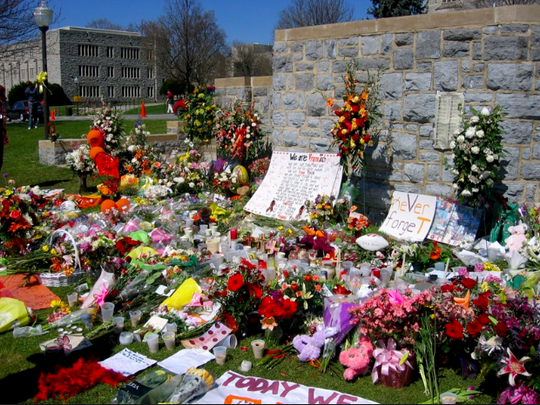 Memorial wall at Virginia Tech honors victims of the April 16, 2007 shooting there.