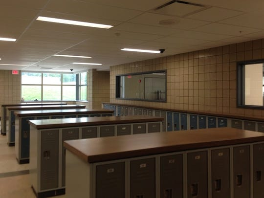Scott High School's new addition features wide hallways with low-profile lockers.