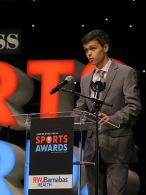 Brennan Davis of Southern Regional accepts the Boys Volleyball Player of the Year Award during the Asbury Park Press Sports Awards at the Count Basie Theatre in Red Bank, NJ Wednesday, June 14, 2017.  #APPSportsAwards