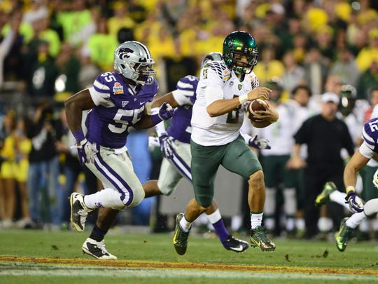 Oregon quarterback Marcus Mariota on the 2012 Ducks football team.