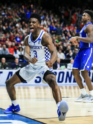Kentucky's Hamidou Diallo celebrates after a late second-half dunk against Buffalo that put an exclamation mark on the Wildcats win in Saturday's NCAA Regional game at Boise, Idaho. March 17, 2018