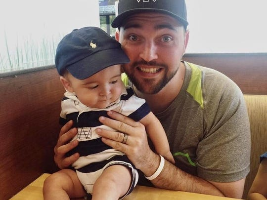 Bryan Eddy, 30, of Rowlett, Texas and his 1 1/2-year-old son Leo. Eddy, Cameron Hurwitz's bone marrow donor, was moved to give back after his own son needed blood transfusions during 15-hour surgery to save his life after being born with a defect.