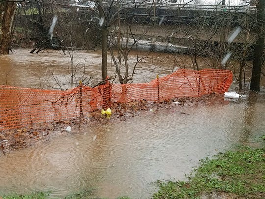 Peters Brook in Somerville flooding.