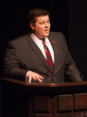 Dixie State Student Body President Matt Devore welcomes the community to the Cox Auditorium prior to the presentation of the strategic plan by President Richard Williams Wednesday, Sept. 23, 2015.
