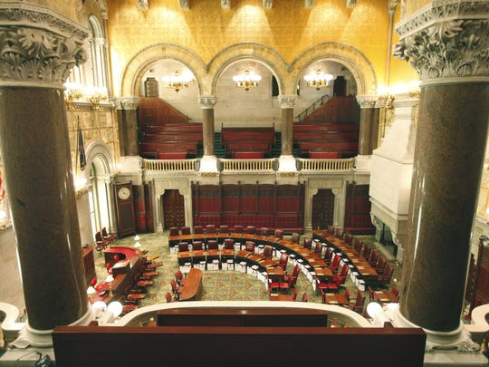 The Senate Chambers inside the New York State Capitol Building in Albany.