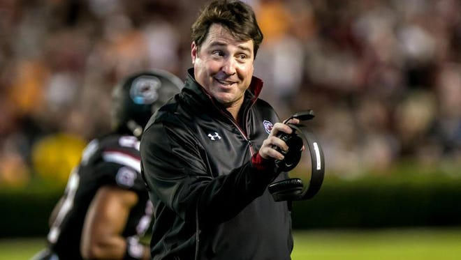 Oct 29, 2016; Columbia, SC, USA; South Carolina Gamecocks head coach Will Muschamp disputes an ejecting  in the first quarter against the Tennessee Volunteers at Williams-Brice Stadium. Mandatory Credit: Jeff Blake-USA TODAY Sports