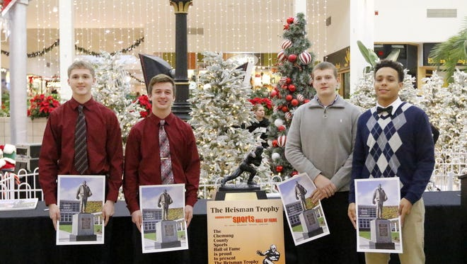 The four finalists for the Ernie Davis Award were announced Saturday at the Arnot Mall in Horseheads. From left, Elmira's Hunter Gilbert, Thomas A. Edison's Brad Churches, Horseheads' Robert Patchen III and Elmira Notre Dame's Derrick Stark.