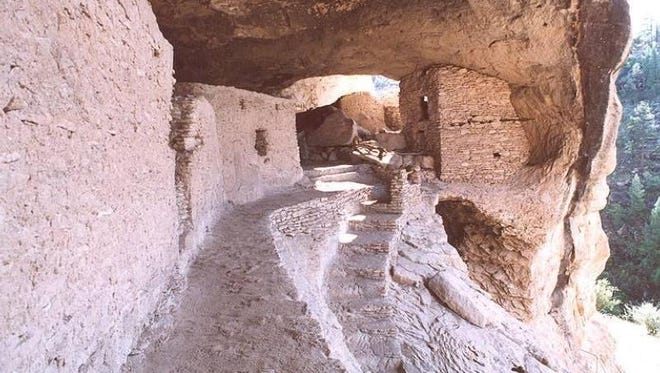 A view along the Catwalk at Gila Cliff Dwellings National Monument.