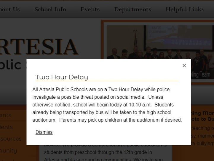A notice on the Artesia Public Schools website informs