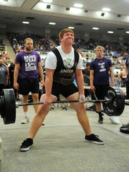 Dublin's Ethan Price completes his deadlift in the