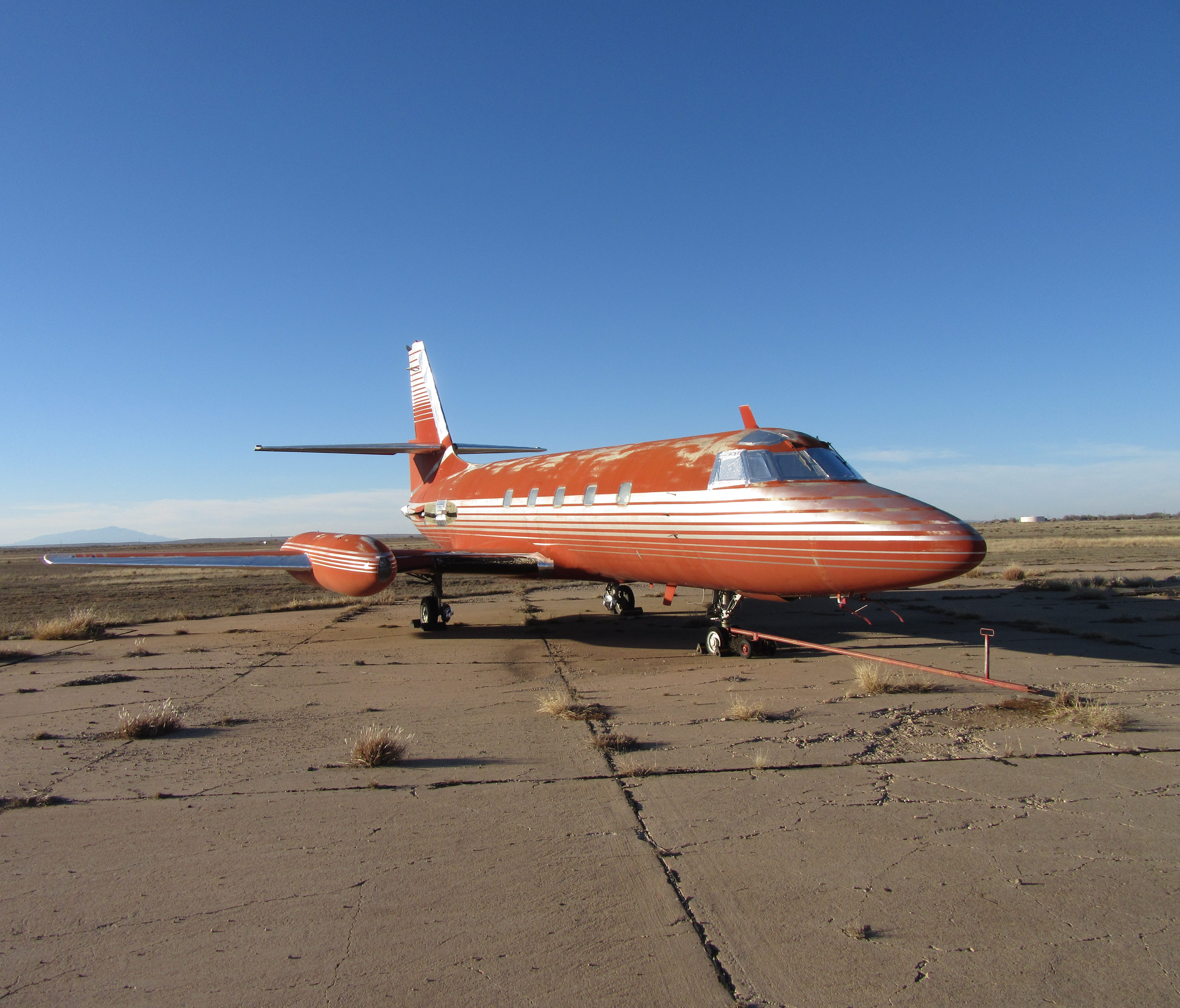 This red 1962 Lockheed JetStar JT 12-5 once flew Elvis, according to American's staff at Roswell.