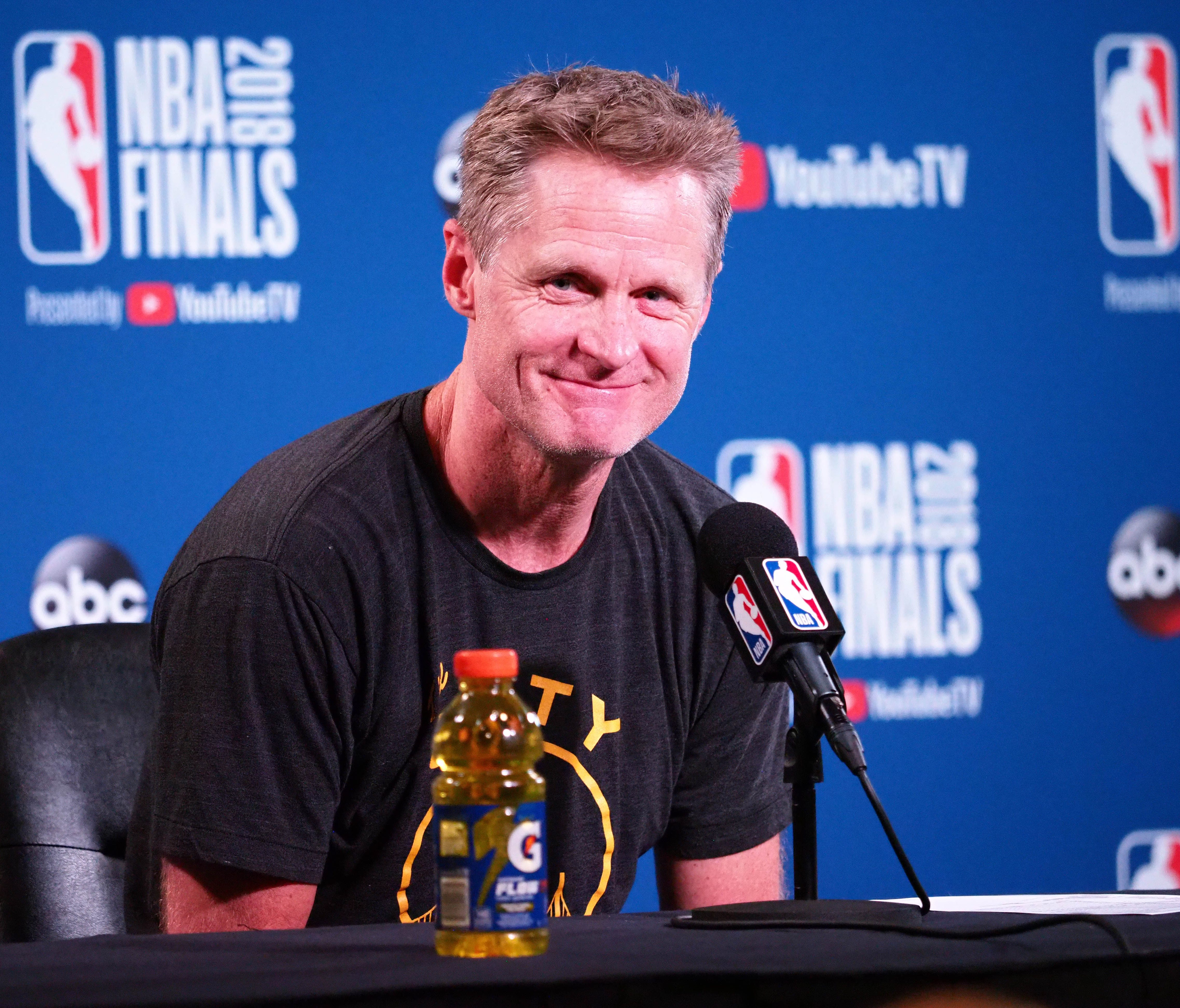 Golden State Warriors head coach Steve Kerr speaks to media following Game 2 of the 2018 NBA Finals.