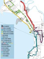 Course map for the 2018 Vermont City Marathon