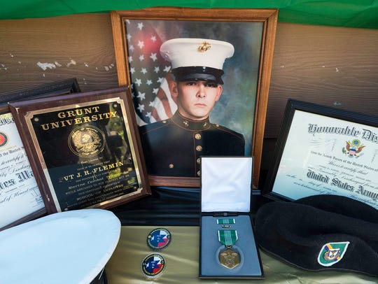 A display at Sgt. Jeffrey Fleming's retirement, wedding