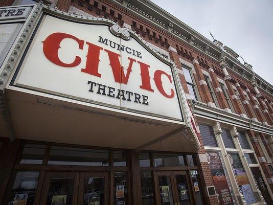 Muncie Civic Theatre front w sign